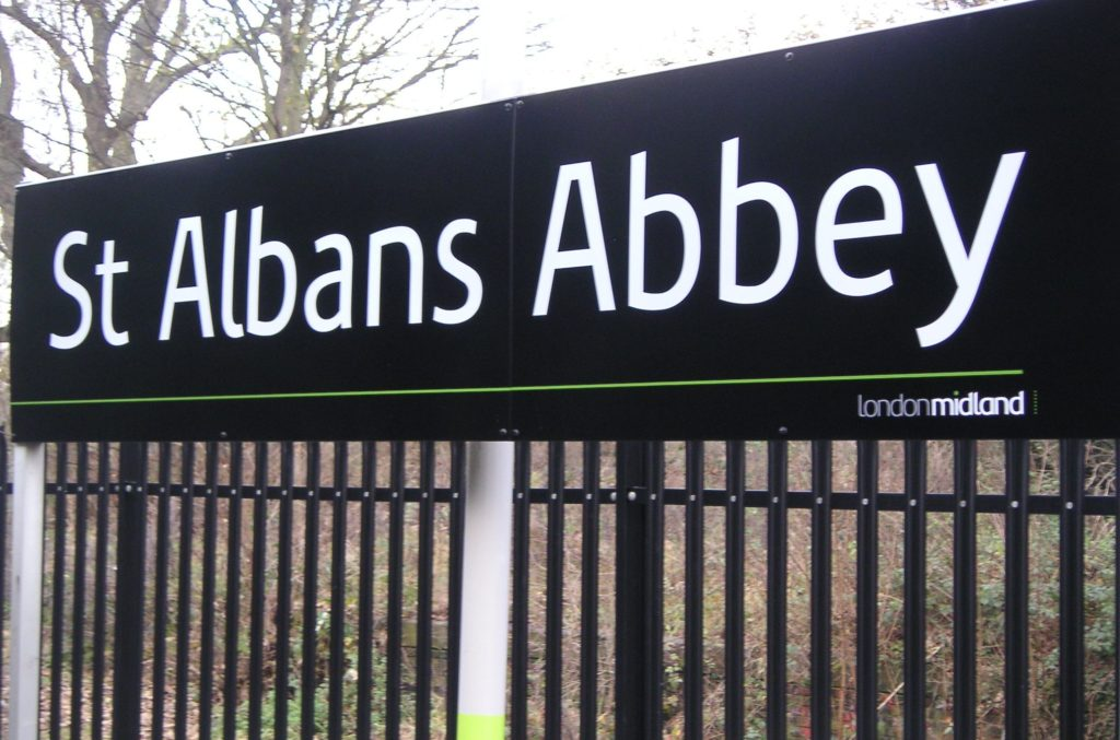 St Albans Abbey Vitreous Enamel Main Station Sign