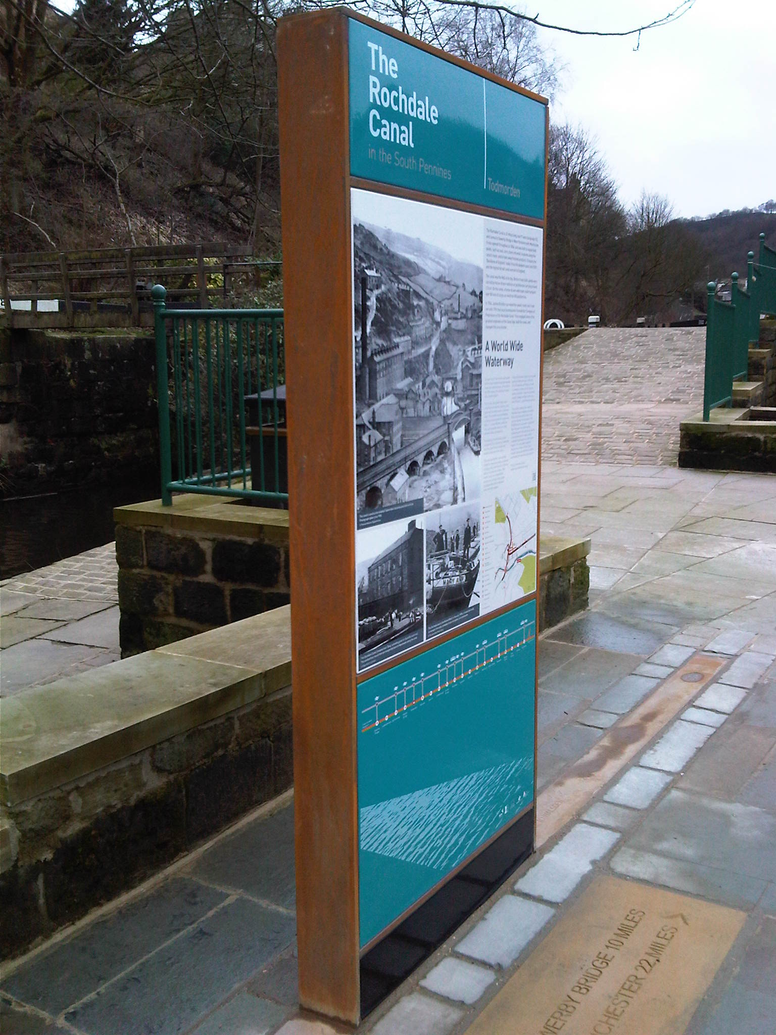 Visitor information signage Rochdale canal-side Monolith