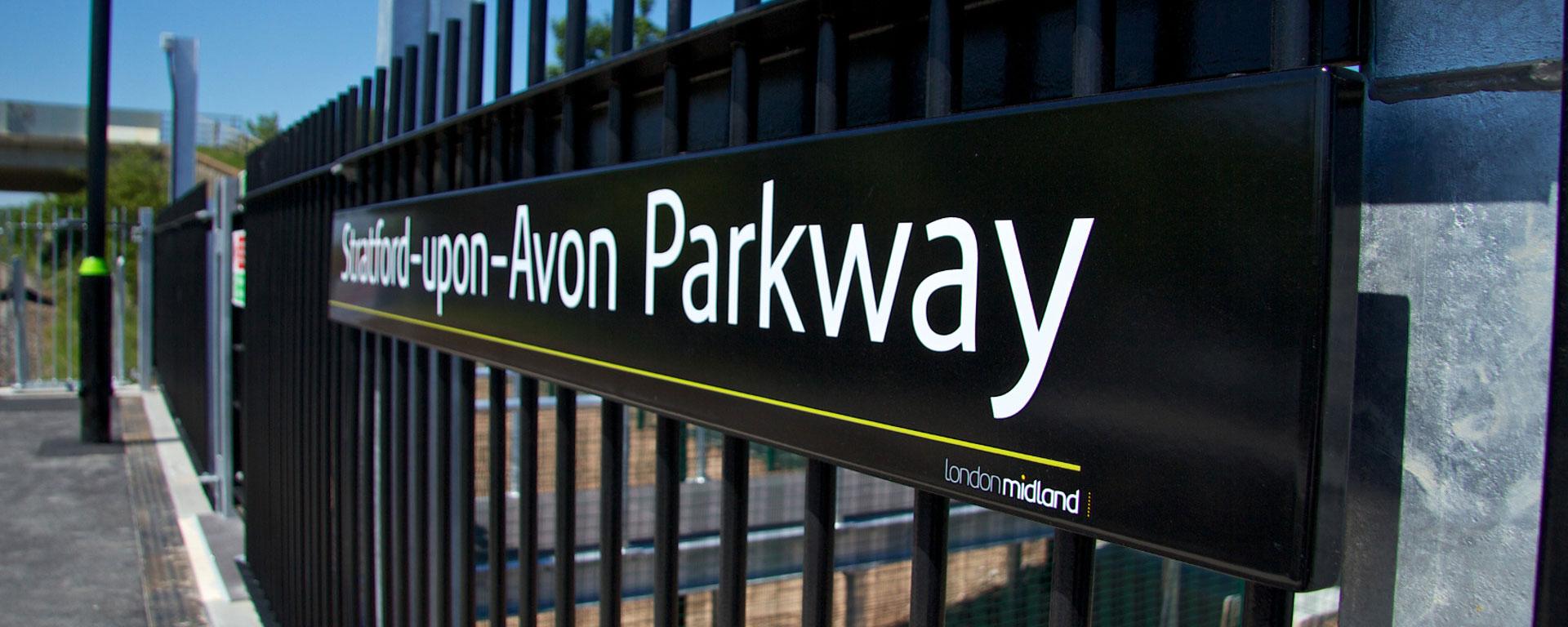 Vitreous enamel signage at Stratford Upon Avon Parkway