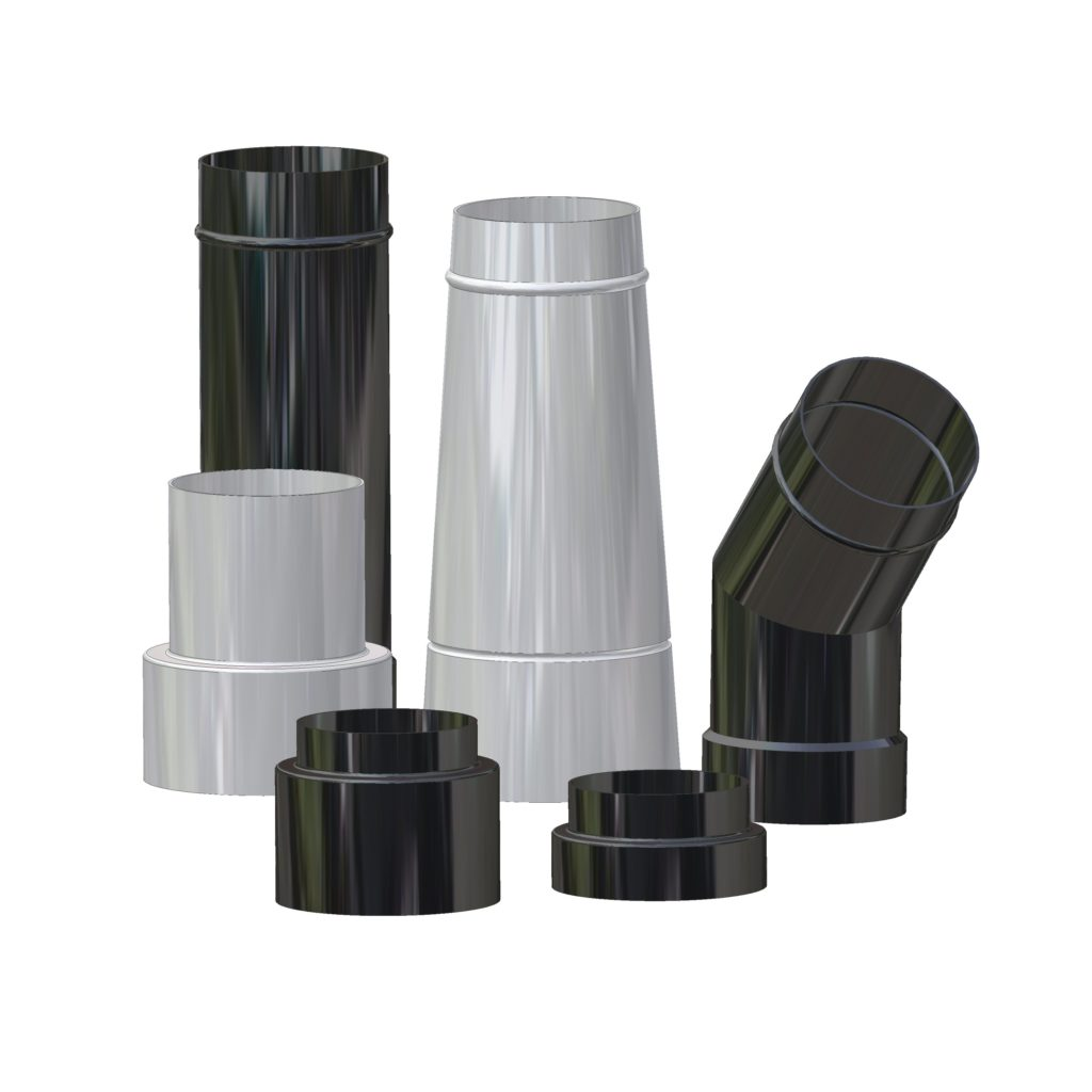 Flue Pipes Trico applies enamel to many components. Pictured here are flues for wood burners & range cookers