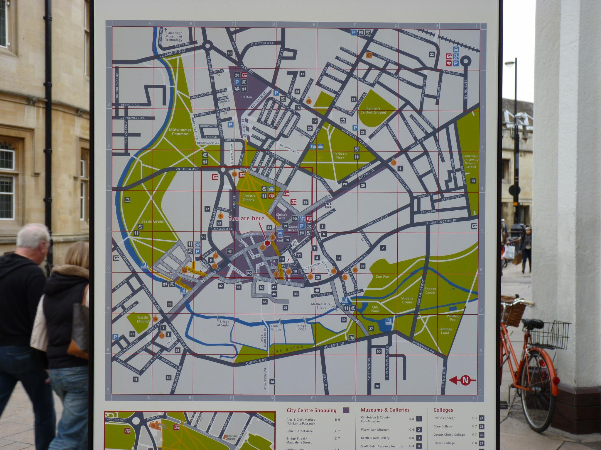 Cambridge Way Finding Map, Cavendish Square, city centre