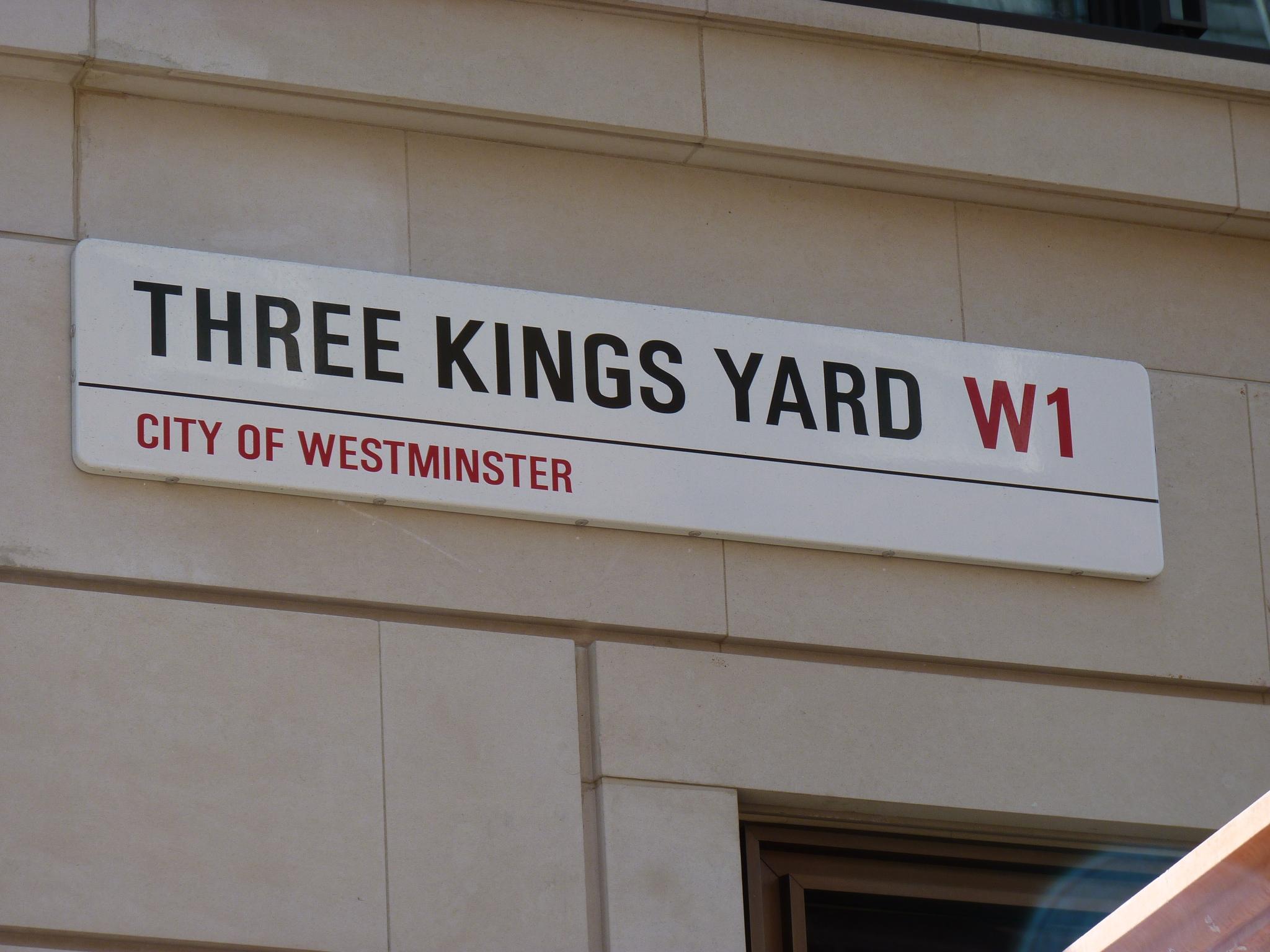 Three Kings Yard, London Street Signage - City of Westminster